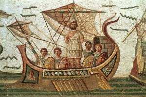Ulysses and the Sirens, Roman mosaic