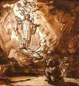 Rembrandt, The Angel Appears to the Shepherds, Pen and brush, 1640-42